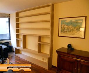 estanteria librera mueble tv a medida realizado en dm para pintar barcelona