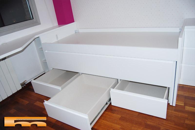 Cama compacta lacada habitaci n juvenil a medida sant for Medidas camas compactas juveniles