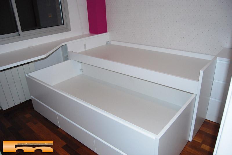 Cama compacta lacada habitaci n juvenil a medida sant for Medidas cama nido con cajones