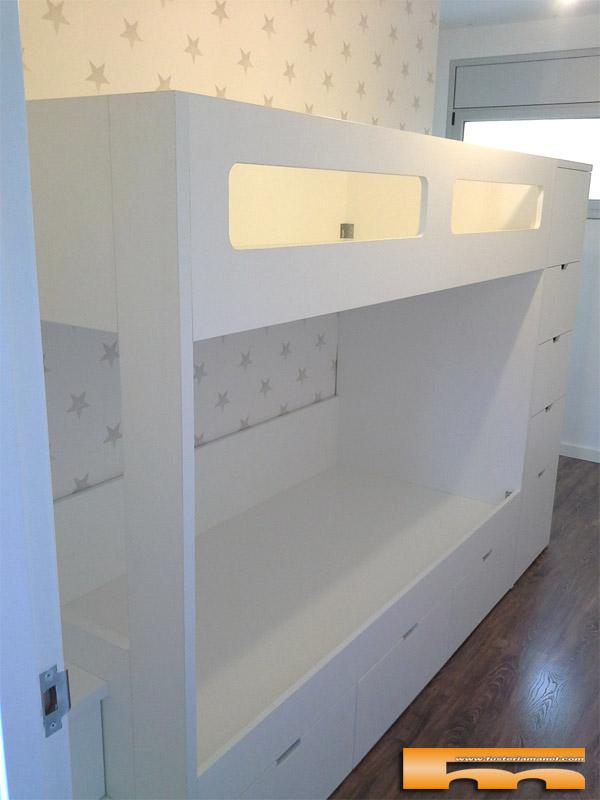 Litera escalera cajones habitacion infantil luis terrassa - Literas tren medidas ...