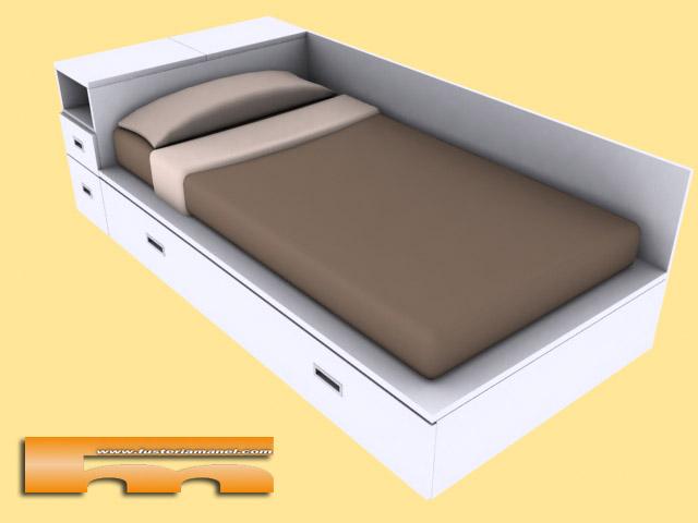 Cama nido a medida con cajones y ba l en cabezal cama for Cama infantil doble con cajones