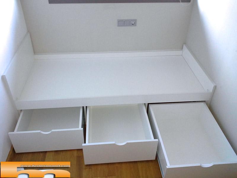 Medidas cama nido con cajones nuestra camas se fabrican for Cama nido con cajones