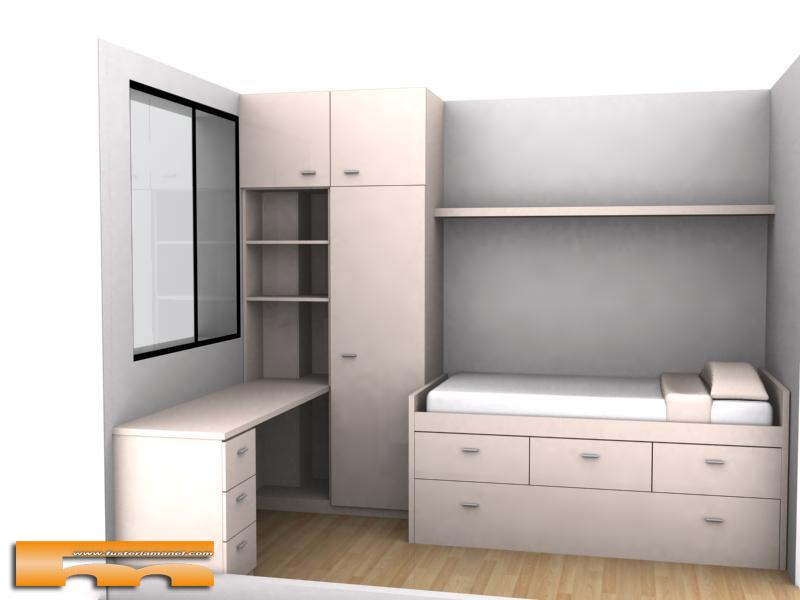 Cama compacta nido doble con armario y escritorio for Precio cama nido doble con cajones