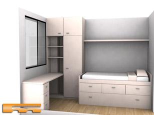 Cama nido a doble altura a medida habitacion juvenil con for Dormitorios juveniles cama nido doble