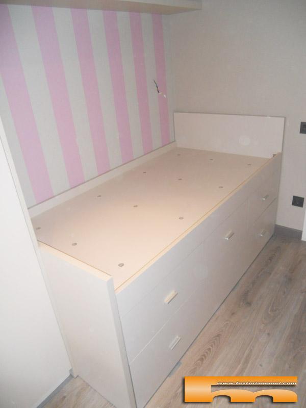 Cama compacta nido doble con armario y escritorio - Camas juveniles barcelona ...