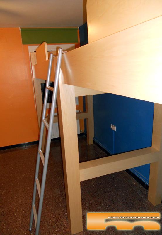 Habitaci n juvenil a medida camas altas cornella de - Medidas cama doble ...