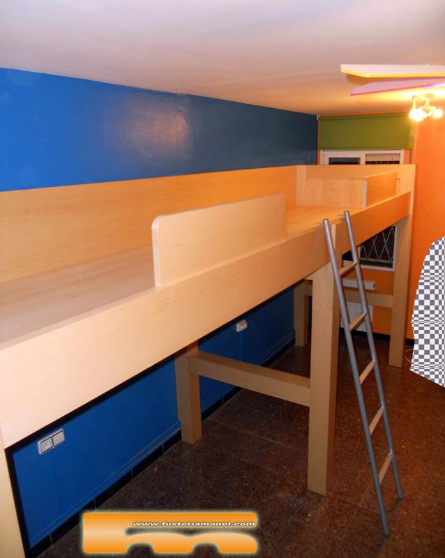 Habitaci n juvenil a medida camas altas cornella de - Escaleras para camas altas ...