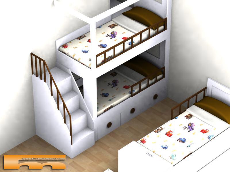 Litera medida y cama individual a medida muebles a medida matadepera ester - Medidas de camas infantiles ...