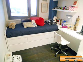 Cama compacta nido doble con armario y escritorio for Habitacion cama nido