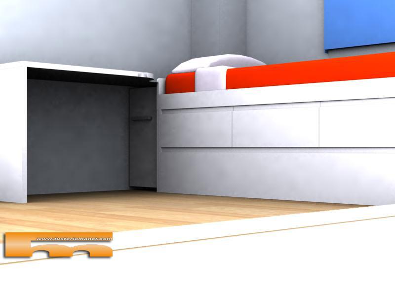 Cama nido y escritorio a medida lacado muebles a medida for Cama nido con escritorio incorporado