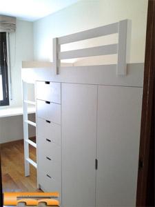 Literas camas realizadas habitaciones fichas for Camas altas con armario debajo