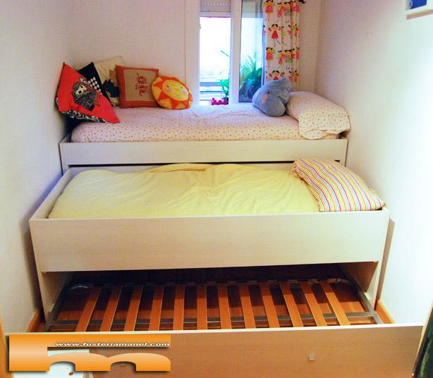 Habitaci n infantil armario y cama compacta triple anna for Habitacion cuadruple barcelona