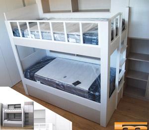 y armario anexo habitacin nias litera a medida con cajones en escalera lateral para habitacin infantil