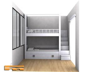 Litera a medida con cajones escalera y armario habitacion - Escalera cajones para litera ...