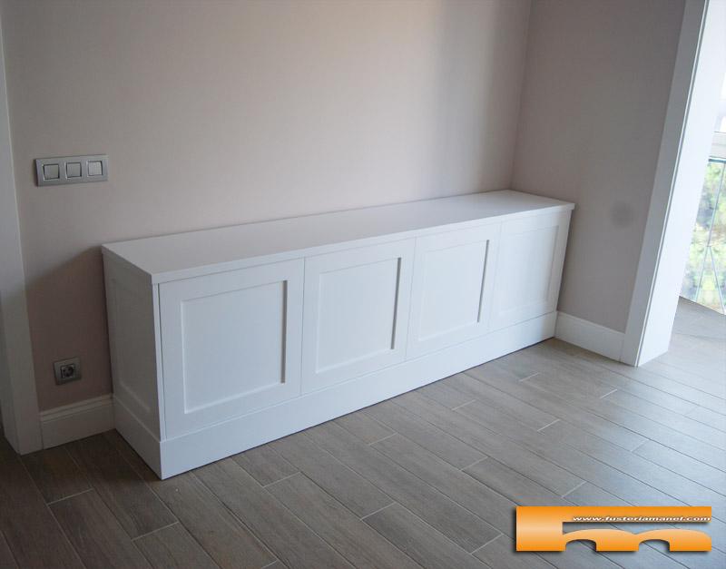 Mueble tv lacado con moldura a medida ripollet cristina - Muebles de salon lacados en blanco ...