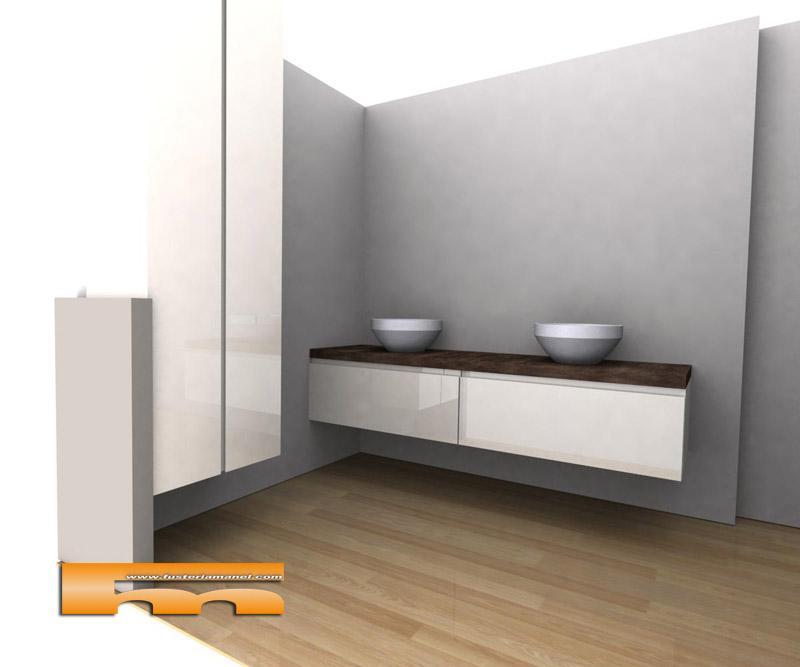 Mueble de ba o con armario lacado brillo push barcelona - Muebles de bano barcelona ...